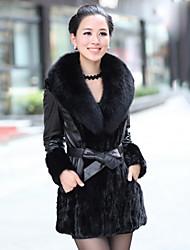 Long Sleeve Fox Fur Shawl Mink Fur &  Lambskin Leather Casual/Party Coat