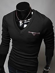 UOMO scollo a V a maniche lunghe Slim T-shirt