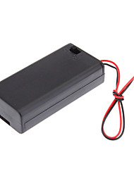 "Plastic Storage Box Case Holder for 2xAA 2A Cells Battery with 6"" Wire Leads"