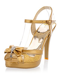 Patent Leather Sparkling Glitter Stiletto Heel Platform Sandals With Rhinestone Bowknot