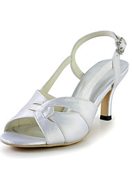 Charming Satin Stiletto Heel Sandals with Buckle Wedding Shoes(More Colors)