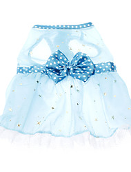 Dog / Cat Dress Blue Spring/Fall Bowknot / Polka Dots Wedding