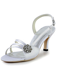 Specific Satin Stiletto Heel Sandals with Buckle and Rhinestone Wedding Shoes(More Colors)