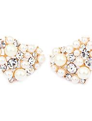 Gold Plated Alloy Zircon Heart Pattern Earrings