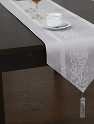 Classic Jacquard Floral Polyester Cotton Blend Table Runners