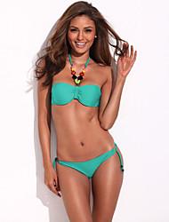 Rua Chic - Moda Doodle Imprimir Triangle Top Set Bikini da RELLECIGA com laços amarelo néon e enchimento removível