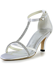 Compact Satin Stiletto Heel Sandals with Rhinestone Wedding Shoes(More Colors)