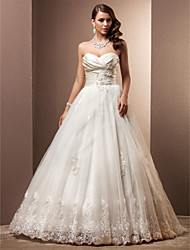LAN TING BRIDE A-line Princess Wedding Dress - Classic & Timeless Glamorous & Dramatic Vintage Inspired Court Train Sweetheart Satin Tulle