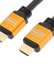 HDMI V1.4 M / M Cabo Net Chapada banhados a ouro Black & Orange (1.2M)