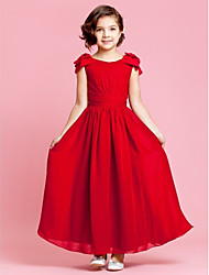 A-Line Ankle Length Flower Girl Dress - Chiffon Sleeveless Jewel Neck by LAN TING BRIDE®