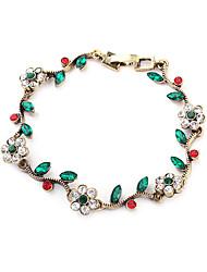 Vintage Alloy Zircon Flower Pattern Bracelet