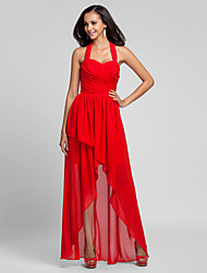 Floor-length / Asymmetrical Chiffon Bridesmaid Dress A-line / Princess Halter Plus Size / Petite with Draping / Criss Cross