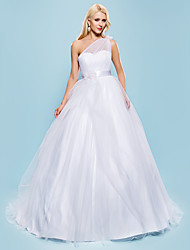 Lanting Bride Ball Gown Petite / Plus Sizes Wedding Dress-Court Train One Shoulder Tulle