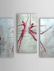 pintadas las personas pintura al óleo a mano de baile las mujeres con el conjunto marco estirado de 3 1307-pe0281
