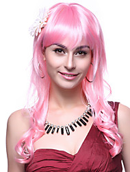 Capless Top Grade Quality Synthetic Long Wavy Pink Hair Wigs