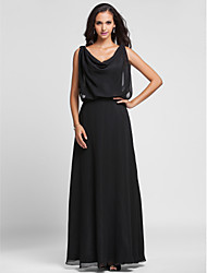 Sheath / Column Cowl Neck Floor Length Chiffon Formal Evening Military Ball Dress with Pleats by TS Couture®