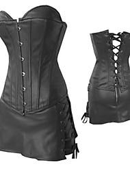Black PU Leather Punk Lolita Corset Set