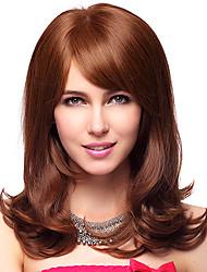 Capless 100% Human Hair Medium Wavy Brown Hair Wigs