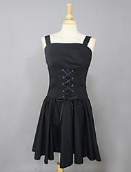 Sleeveless Knee-length Black Cotton Casual Lolita Dress