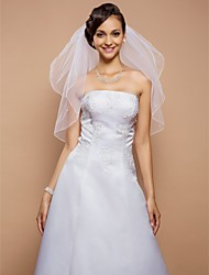 Wedding Veil Two-tier Elbow Veils Pencil Edge 31.5 in (80cm) Tulle White WhiteA-line, Ball Gown, Princess, Sheath/ Column, Trumpet/