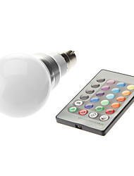 B22 3W High Power LED 300-350LM Color-Changing Remote-Controlled Globe Bulbs AC 85-265 V