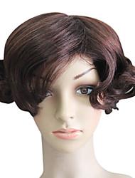 Capless 100% Human Hair Short Brown Wavy Hair Wigs
