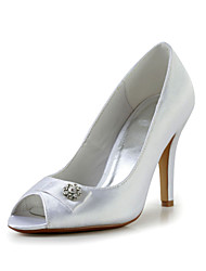 Fabulous Satin Stiletto Heel Peep Toe Pumps with Rhinestone Wedding Shoes(More Colors)