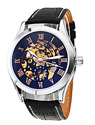 SHENHUA® Men's Classic Skeleton Black Dial Leather Band Automatic Self Wind Wrist Watch Cool Watch Unique Watch