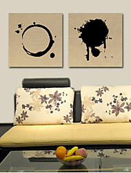 Reproducción en lienzo de arte abstracto negro patrón de timbre y redondo de 2