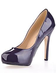 Púrpura oscuro de charol tacón de aguja para mujer Bombas partido / zapatos de noche