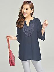 Ohdear Frauen Navy Blue Lace Neck 3/4 Sleeve Shirt