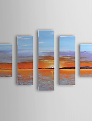 Hand Painted Oil Painting Landscape Sea and Sunrise with Stretched Frame Set of 5 1307-LS0362