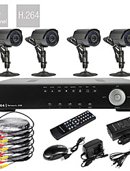 4-kanaals D1 real-time H.264 600TVL High-Definition bewakingscamera DVR-kit (4 waterdichte dag/nacht CMOS-camera's)