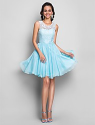 A-line/Princess Jewel Knee-Length Chiffon Cocktail/Prom Dress