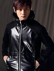 Мужская кожа PU толстовка с капюшоном куртки