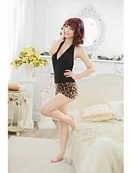 Fashion Black Leopard rückenfreie Chemise (Passend für S-XL)