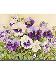 Reproduction transférée sur toile Art Floral blanc et pourpre de pensées par Joanne Porter