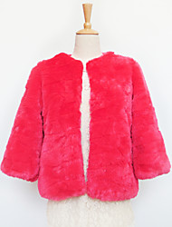 Beautiful 3/4 Sleeve Collarless Faux Fur Party/Casual Jacket(More Colors)
