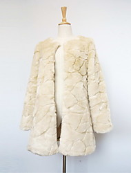 Long Sleeve Collarless Faux Fur Casual/Party Coat(More Colors)