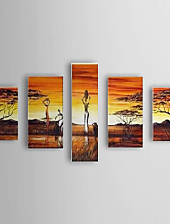 Hand Painted Oil Painting Landscape People and Trees with Stretched Frame Set of 5 1307-LS0358