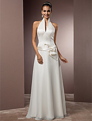 Lanting Bride Sheath/Column Petite / Plus Sizes Wedding Dress-Floor-length Halter Chiffon / Satin
