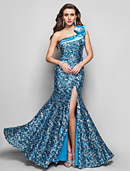 TS Couture Formal Evening / Military Ball Dress - Pool Plus Sizes / Petite Trumpet/Mermaid One Shoulder Floor-length Sequined