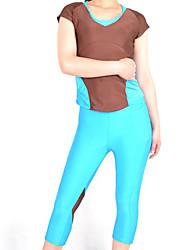 Brown und Sky Blue Spandex Nylon Übung Suit