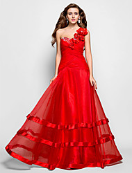 Formal Evening/Prom/Military Ball Dress - Ruby Plus Sizes A-line/Princess One Shoulder/Sweetheart Floor-length Organza