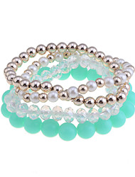 Lureme®Candy Color Pearl Bead Connected Bracelet Set(Assorted Colors)