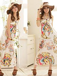 Women's Halter Vintage Flower Print Maxi Dresses