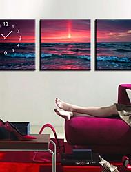 estilo moderno do mar relógio de parede em tela 3pcs