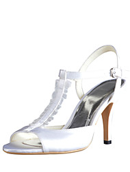 Graceful Satin Stiletto Heel Sandals with Buckle Wedding Shoes(More Colors)