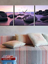 style moderne plage horloge murale en toile 3pcs