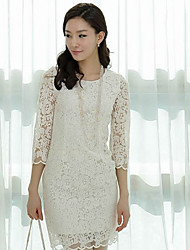 Women's Casual Solid / Lace Sheath Dress , Round Neck Mini Lace